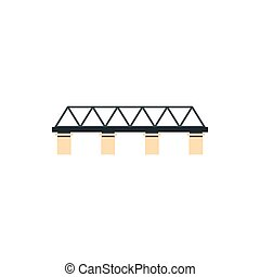 Truss bridge icon in flat style - icon in flat style on a...