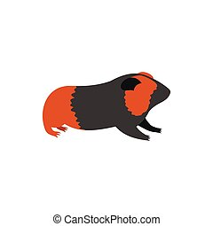 Guinea pig, cavy icon in flat style - icon in flat style on...