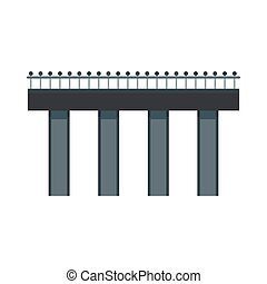 Bridge with steel railings icon, flat style - icon in flat...
