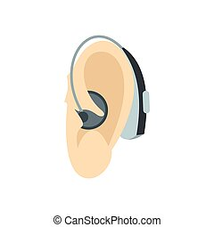 Ear with hearing aid icon, flat style - icon in flat style...