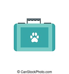 Pet first aid kit icon, flat style