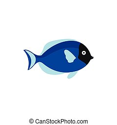 Blue fish icon in flat style - icon in flat style on a white...