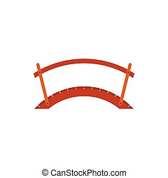 Wooden bridge with handrail icon, flat style - icon in flat...