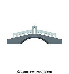 Stone bridge icon, flat style - icon in flat style on a...