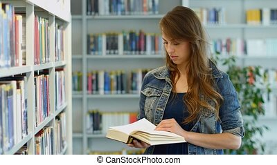 A young woman in a public library