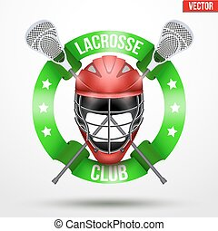 Lacrosse sticks and helmet with ribbons. Sporting Symbol and...