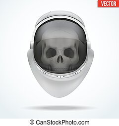 Astronaut space helmet with skull behind visor glass Front...
