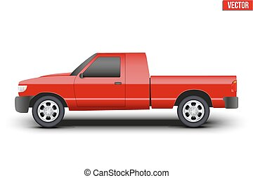 Original classic red Pickup truck vector illustration