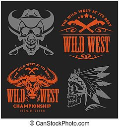 Set of vintage cowboy emblems, labels, badges, logos and...