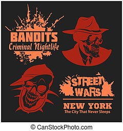 Set of gangser and bandits emblems, labels, badges, logos.