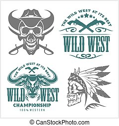 Set of vintage cowboy emblems, labels, badges, logos and...