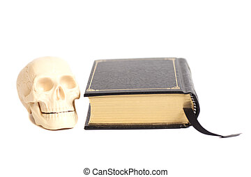Human Scull On Book isolated on white