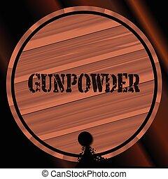 Gunpowder Keg With Powder Trail - A keg of gunpowder with...