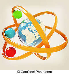 3d atom Global concept 3D illustration Vintage style - 3d...