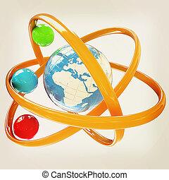 3d atom Global concept 3D illustration Vintage style - 3d...