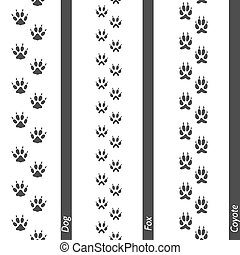 Animal footprints seamless border set. Vector footprint dog...