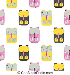 Backpack seamless vector pattern - Backpack seamless white...