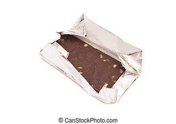 chocolate bar in foil. isolated on white.