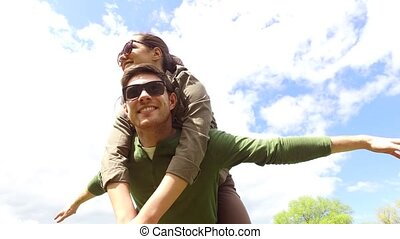 happy couple having fun outdoors 10 - leisure, love, free...