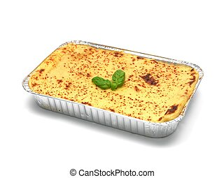 Lasagne - A tray of lasagne isolated against a white...