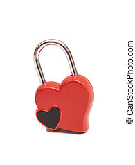 Locked heart isolated on white