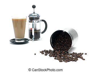 Coffee Beans - Coffee beans in a canister and a coffee...