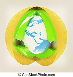 Abstract globe symbol. 3D illustration. Vintage style. -...
