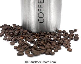 Coffee Beans - Coffee beans and a canister isolated against...