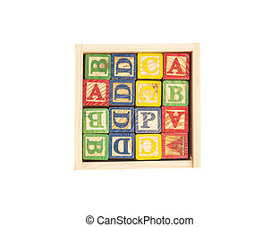 Wooden Toy Cubes With Letters On Box