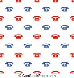 Retro Phone Pattern. Silhouette of Old Telephone
