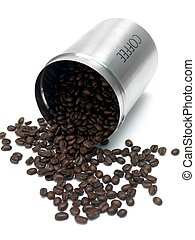 Coffee Beans - Coffee beans in a canister isolated against a...