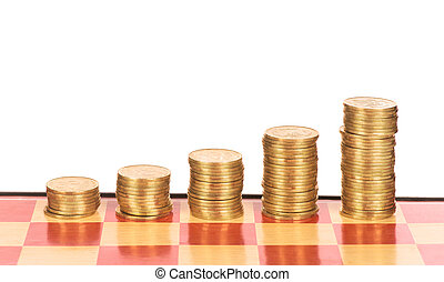 Chessboard with stacks of pennies