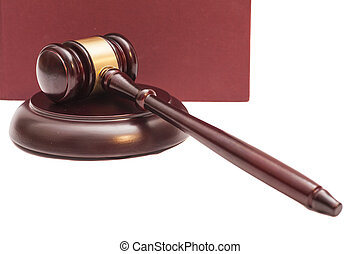 Gavel and book on white background