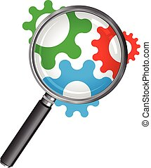 magnifying glass with cogs