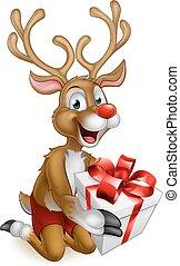 Santas Christmas Reindeer Holding a Gift - Santas christmas...