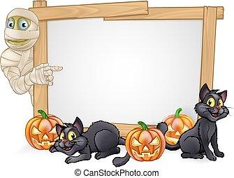 Cartoon Halloween Mummy Sign