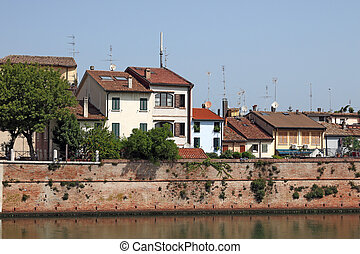 old houses on the Porto Canale Rimini Italy