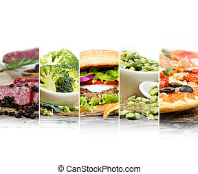 Healthy Unhealthy Food - Photo of mix stripes with various...