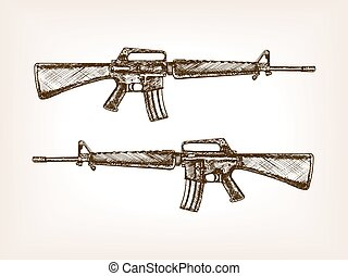 Automatic rifle hand drawn sketch vector