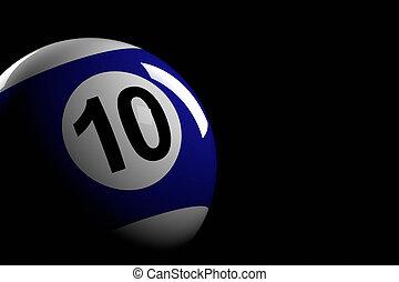 Pool Ball Number 10, 3D Rendering - 3D rendering of pool...