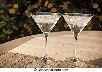 Two martini glasses in the sunshine - Colour landscape photo...