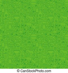 Green Line Grill Seamless Pattern. Vector Illustration of...