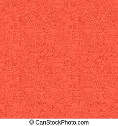 Line Red Grill Seamless Pattern. Vector Illustration of...