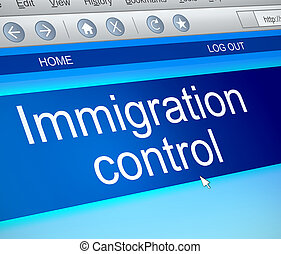 Immigration control concept - Illustration depicting a...