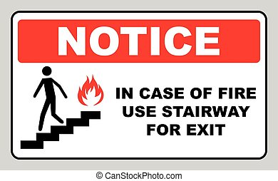 in case of fire use stairway for exit sign vector symbol -...