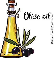 olive oil bottle with black olives isolated sketch style...