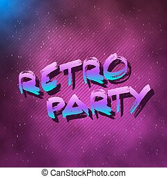 1980 Retro Party Neon Poster Retro Disco 80s Background made...