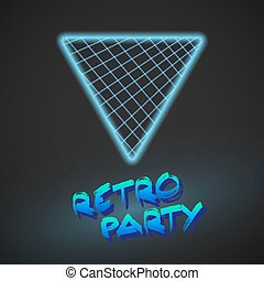 Neon Style Triangle Techno Background Outer Space Poster...