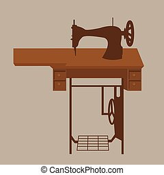 old sewing machine vintage antique tailor fashion equipment in brown illustration