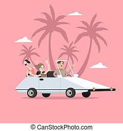 group of people ride car open for travel holiday with palm tree behind